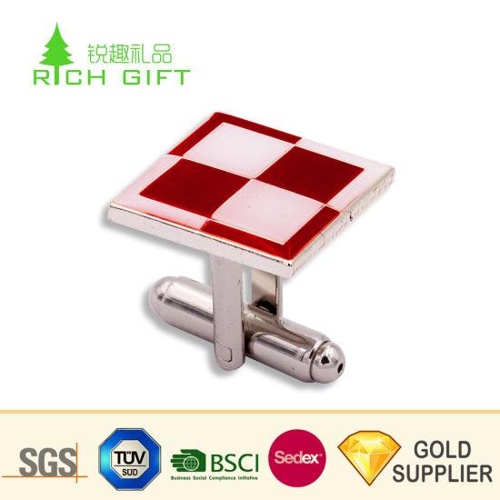 OEM Design Custom Blanks Metal Stainless Steel Enamel Mechanic Cufflink Tie Clip Set with Gift Box