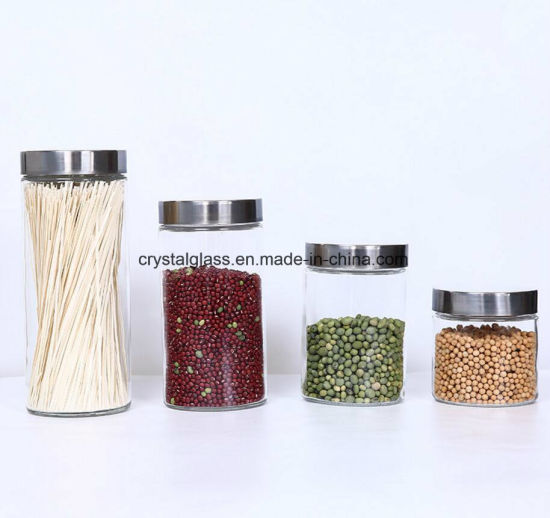 Cylinder Storage Glass Container with Metal Cap