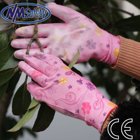Nmsafety Pink Flower Pattern PU Coated Women Work Glove