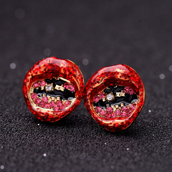 New Fashion Retro Punk Personality Red Lips Stud Earrings Jewelry pictures & photos