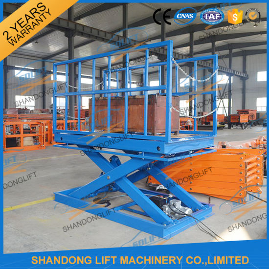 2t Warehouse Cargo Stationary Hydraulic Scissor Lift pictures & photos
