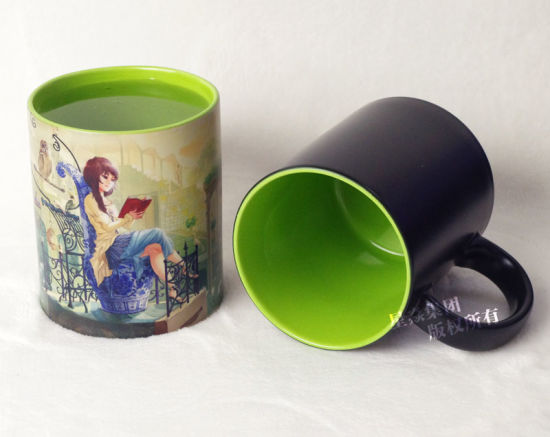China Light Green Inner Color Changing Mug For Sublimation China