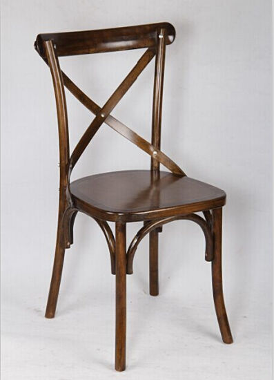China Hard Wood Dark Wood Cross Back Chair