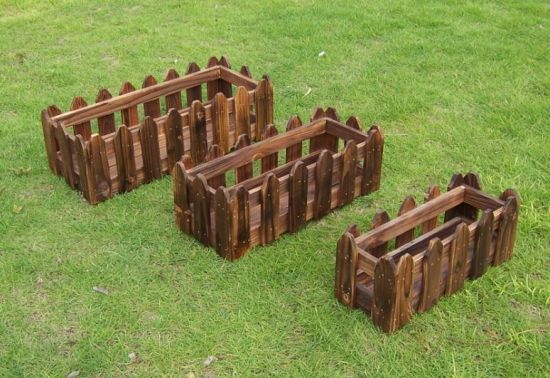 Outdoor Rectangle Garden Small Wooden Flower Pot With Fence