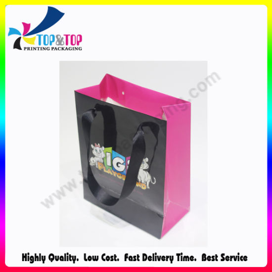 Ribbon Handle Art Paper Shopping Bag pictures & photos