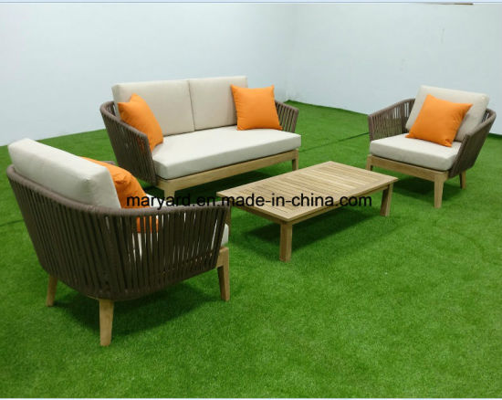 Lounge sofa outdoor teak  China Rope Woven Teak Lounge Sofa Set - China Outdoor Furniture ...