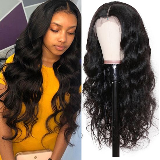"Wholesale Body Wave Lace Front Wigs Brazilian Virgin Human Hair Wigs for Black Women 150% Density Pre Plucked with Baby Hair Natural Black 20"" pictures & photos"