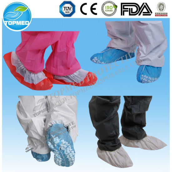 Nonwoven Disposable Shoe Cover Antislip Waterproof PE/CPE Shoe Cover Medical Supplies