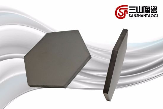 Bulletproof Ceramic Sintered Silicon Carbide Hexagon Opposite Angles 96mm Thickness 6mm pictures & photos