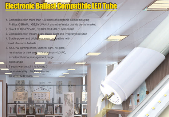 9W 15W T8 Electronic Ballast Compatible LED Tube with 5 Warranty Years pictures & photos