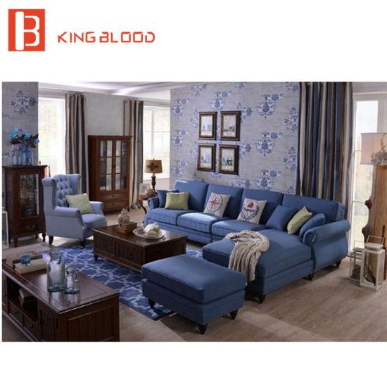 China American Living Room Modular Corner Top Blue Linen Fabric Sofa ...