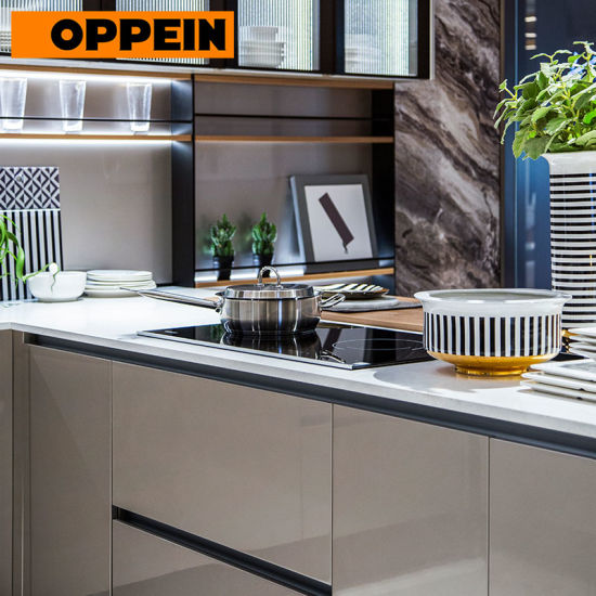 China Oppein Modern European Style High Gloss Grey Kitchen
