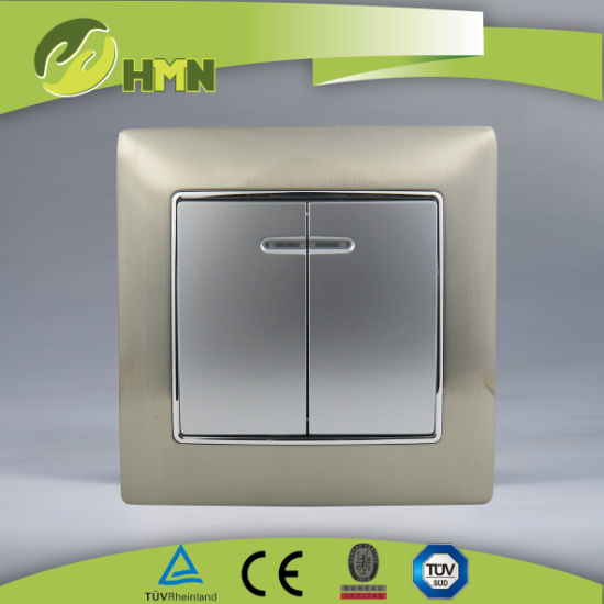 Ce/TUV/BV Certified European Standard Metal Zinc 2Gang with LED SILVER Wall Switch