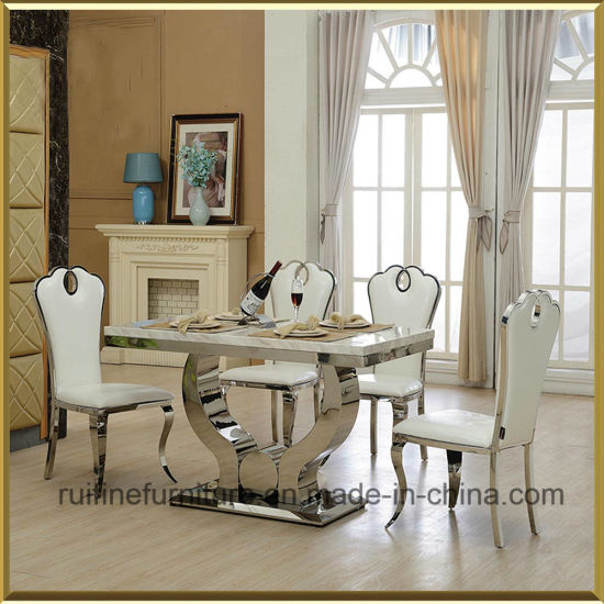 China Modern Stainless Steel Dining Room Table and Faux Leather Side ...