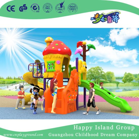 2018 New Outdoor Red Mushroom House Children Playground with Cylindrical Slide (H17-A18) pictures & photos