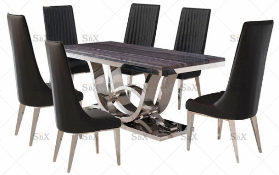 New Design Restaurant Furniture Set High Back Fireproof Leatherette Luxury Restaurant Dining Chair pictures & photos