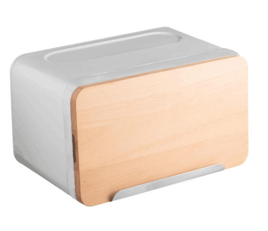 Metal Bread Box Bread Tin Canister with Cutting Broad