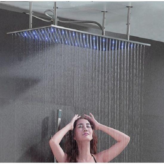 "40"" Stainless Steel Multicolor LED Ceiling Mount Rain Shower Head"