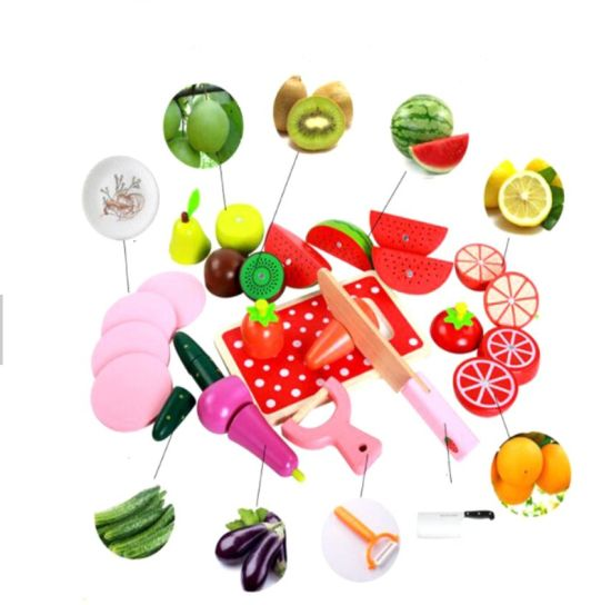High Quality Montessori Early Educational Pretend Learning Cutting Fruits Wooden Toy