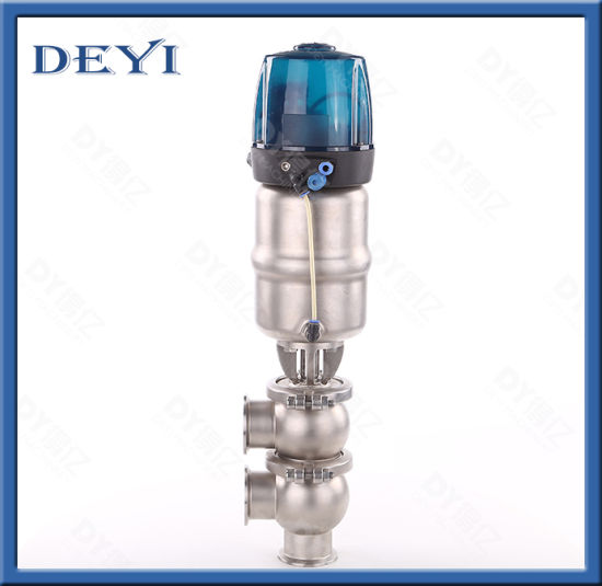 SS304 Good Quality for Pneumatic L Type Clamping Divert Seat Valve with Control Head