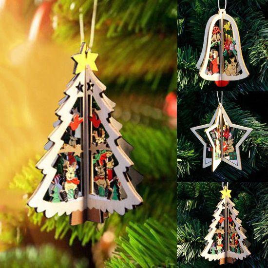Wood Christmas Tree.Hot Item Christmas Xmas Tree Decoration Wood Star Bell Pendant Ornaments