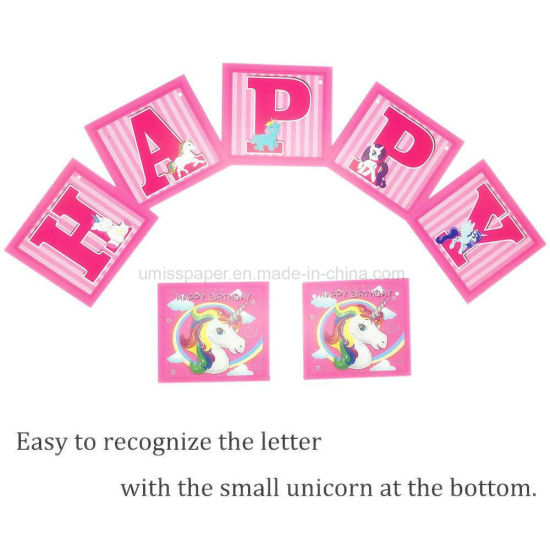 umiss paper happy birthday letter banner party unicorn decoration for factory oem