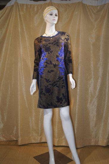 Polyester Long Sleeve Medium Long New Fashion Ladies Dress