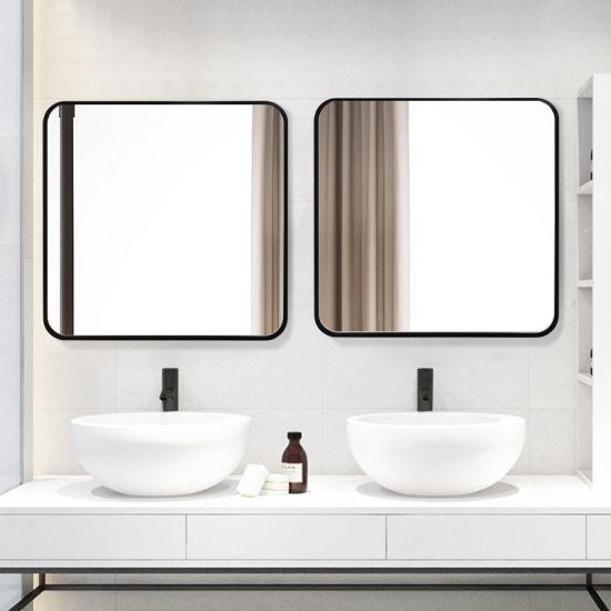 China Home Decoration Wall Mounted Black Metal Framed Bathroom Mirror Bath Mirror China Framed Mirror Framed Bath Mirror