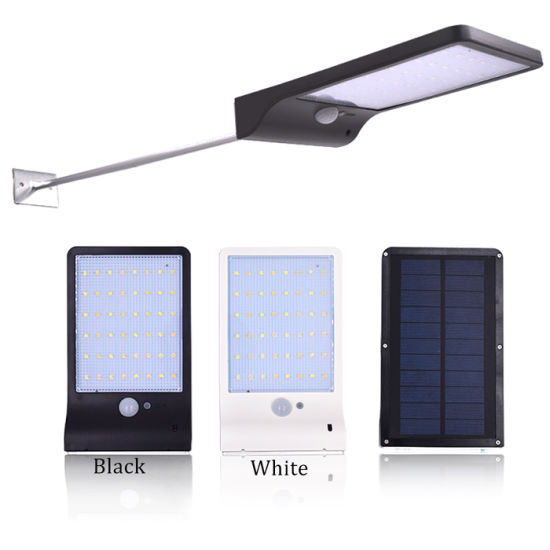 Remote Control 48 LED Solar Powered PIR Motion Sensor Lights Outdoor Wall Lamp