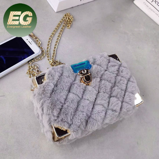Factory Winter New Style Wholesale Square Handbag in Fur Crossbody Sling Bags for Women with Chain Sh1387 pictures & photos