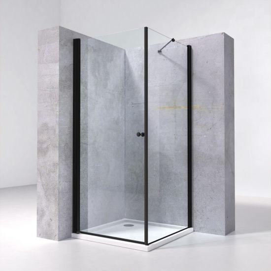 Bathroom Black Aluminium Alloy Frame Glass Shower Box 90X90