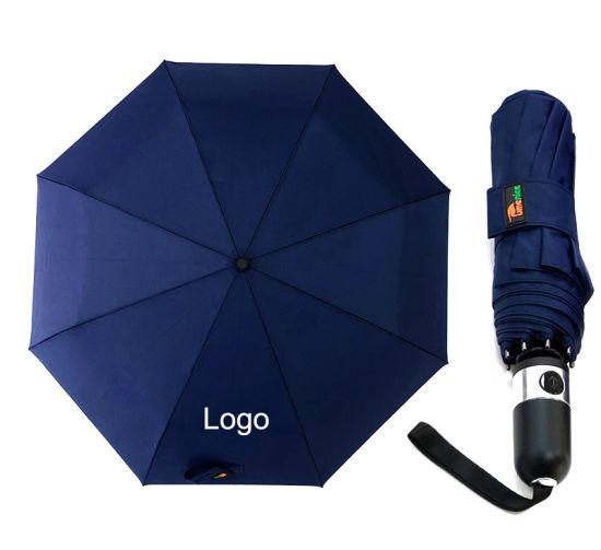 Colorful Windproof Frame Automatic Custom Promotional 3 Foldable Rain Umbrella