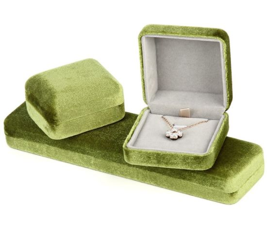 Velvet Jewelry Box Brushed Texture PU Leather Luxury Jewelry Bracelet Boxes Packaging Flocking Jewelry Box Metal Box