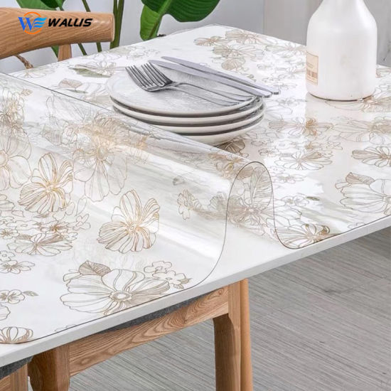 Waterproof Table Cloth Protector Strong Clear Plastic PVC Vinyl Transparent