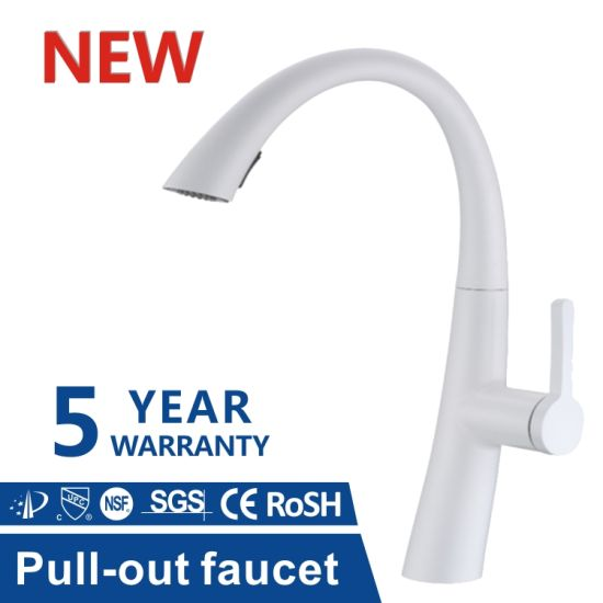 Homes Cupc 304 Stainless Steel White Color Mixer Pull Down Kitchen Sink Taps Faucet