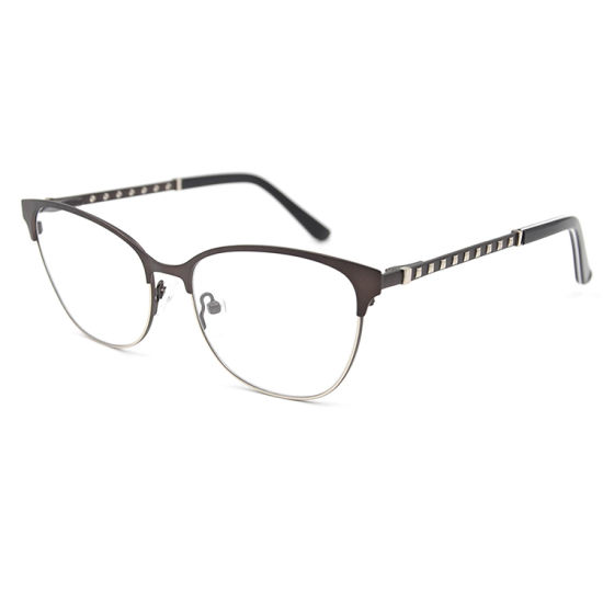 Spring Hinge Stainless Material with Crystals Eyeglasses Factory Wholesale Metal Optical Frames