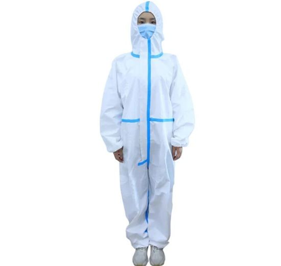 Top Quality Ready to Shop in Stock PE Seam Tape PE Coverall White Wholesale China Factory Ce Personal Ce FDA Civil Non Woven Disposable Protective Clothing