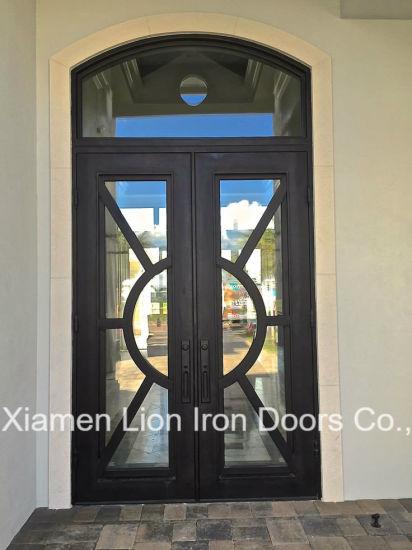 China Luxury Wrought Iron Front Door Grills Exterior Double Security