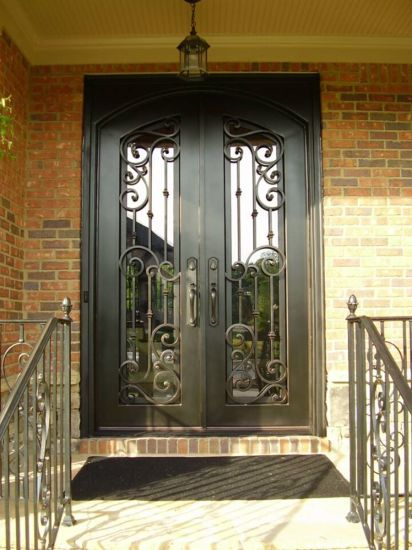 China Modern Cheap Used Main Wrought Iron Entry Interior Double Door on