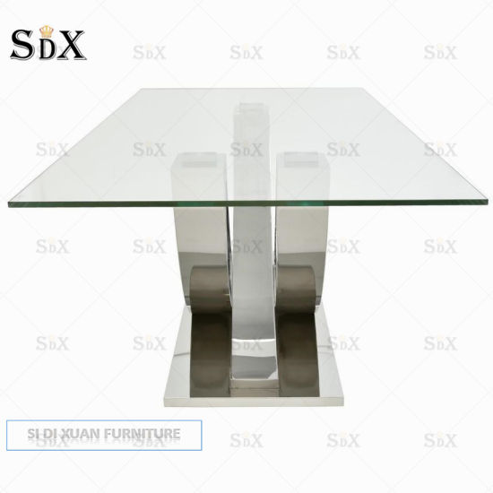 Home Furniture Dining Table Sets Stainless Steel Clear Glass Dining Table pictures & photos