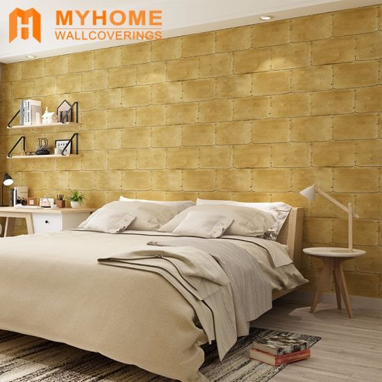 China Interior Wall Decorative Golden 3D Wallpaper for Living Room ...