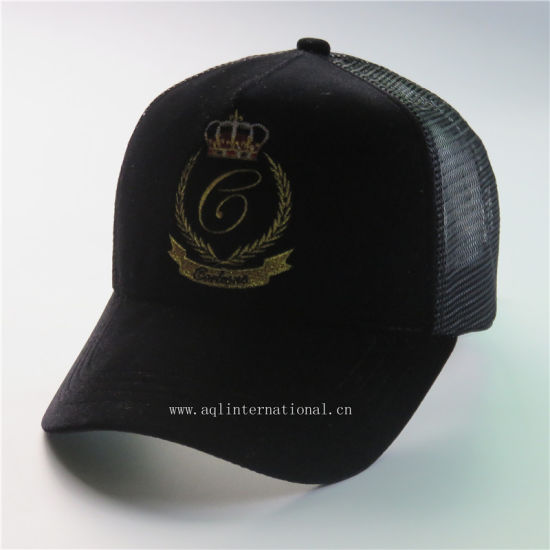 3a12d784a50ad Custom Premium Quality 5 Panels Gold Metalic Embroidery Velvet Mesh Trucker  Cap Hat