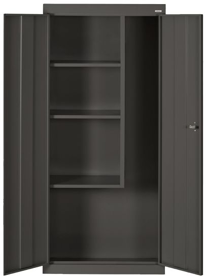 Black Steel Janitorial / Supply Cabinet, 4 Fixed Side Shelves pictures & photos