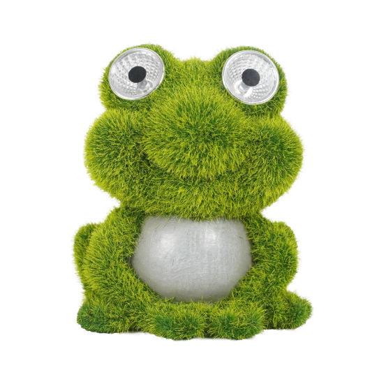 Garden Decor Artificial Flocking Artificial Moss Finished Frog Statue with Solar Light