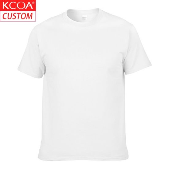 China Wholesale Short Sleeve Plain Blank White Cotton Men's Tshirt