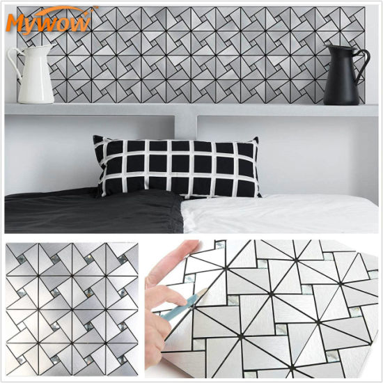 MyWow Kitchen Backsplash Peel and Stick Metal Aluminium Mosaic