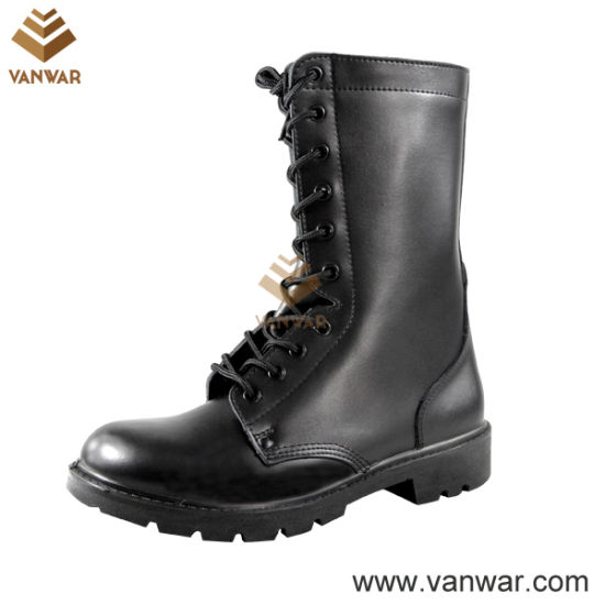 Black Military Combat Boots of Full Leather (WCB026)