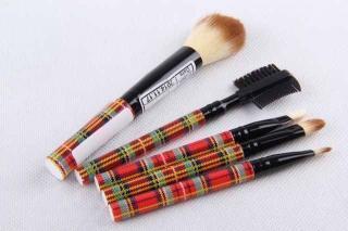 5PC Colorful Checkered Plastic Handle Aluminum Tube Nylon Wool Blush Makeup Brush Set