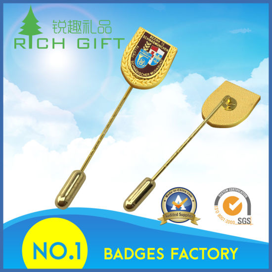 Factory Supply Customized Metal Lapel Pin Badge with Long Needle