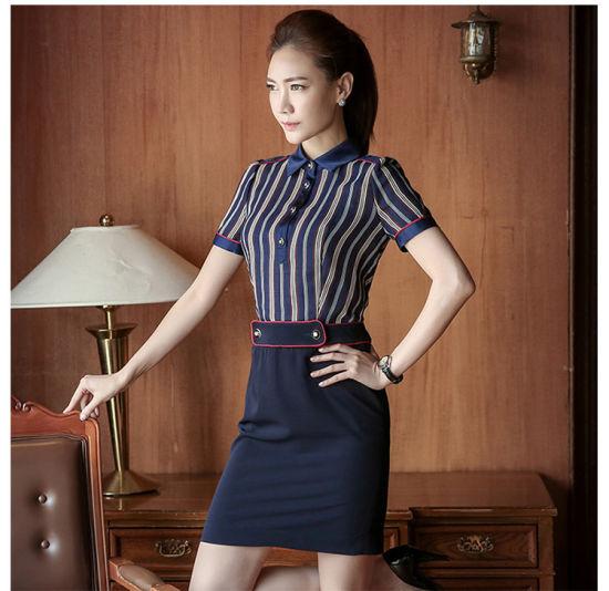 d24b3712f1325 Fashion Designs Poplin Slim Fit Plain Strip Ladies Formal Shirt pictures    photos